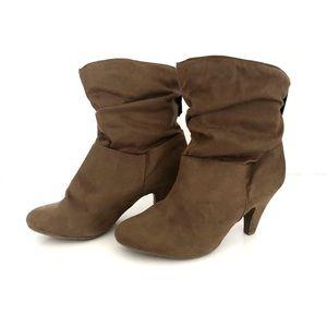 Tan suede look booties. Size 7